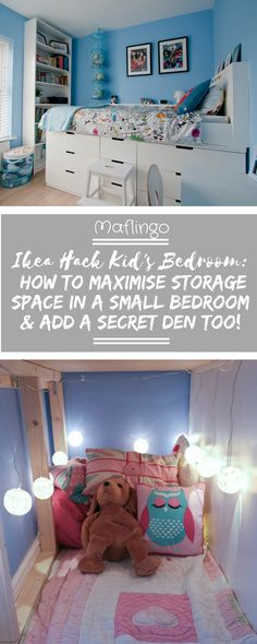 Space-saving Kid's bedroom Makeover. We created a mid sleeper bed for our daughter to last into her teenage years. Find out how we maximised storage for organising clothes in a small bedroom by raising the bed on a plywood base above some Ikea Nordli drawers in this Ikea Hack. The best bit is a secret children's den hidden underneath the bed behind the drawers. We also added a headboard & shelf along the back of the bed to complete the look. Click through for step-by-step Ikea Hack tutorial