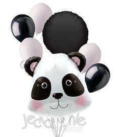 7 pc Cute & Cuddly Panda Bear Balloon Bouquet Decoration Colorful Luau Birthday