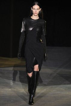 Alexander Wang, Fall 2012. Love this for the leather and draped waistline. I think I would like it better sleeveless. love the gauze knit and leather gloves.