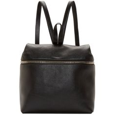 Kara Black Pebbled Leather Backpack ($450) ❤ liked on Polyvore featuring bags, backpacks, backpack, pebbled leather backpack, black rucksack, zipper backpack, black knapsack and zipper bag