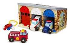 Roll to the rescue with 3 wooden rescue vehicles, garage with locking color-matching doors, and keys Doors slide open and lock closed Handle makes it easy to take along and play.   toys4mykids.com