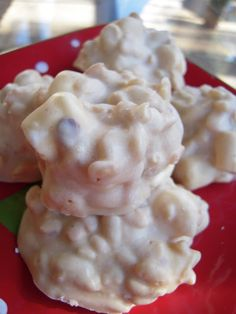 White Chocolate Peanut Butter Krispies: 5 ingredients- 2 cups Rice Krispies cereal- 2 cups dry roasted peanuts- 2 cups miniature marshmallows- 1 cup peanut butter- 2 pounds white chocolate chips (2 12 oz. packages plus 1 1/3 cup).../click to see