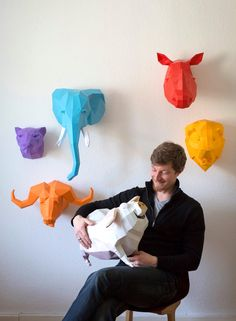 DIY Geometric Paper Animal Sculptures by Paperwolf | Colossal