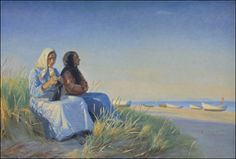 Michael Peter Ancher (1849-1927): Two Fishermen's Wives in the Dunes at the Beach of Skagen, 1904