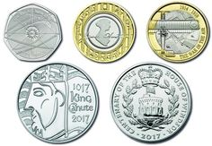 2017 commemoratives : Newton 50 p; Austen 2 pound; Air Battles WW I 2 pound; King Canute crown; House of Windsor crown
