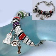 New Dog Lovers Bone House Paw Puppy Sliding Murano Beads Charm Bracelet #LolaBellaGifts #Charm