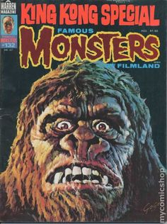 Famous Monsters of Filmland - issue - 1977 - King Kong (cover art by Basil Gogos) Sci Fi Horror, Horror Comics, Horror Art, Scary Comics, Horror Posters, Movie Posters, Classic Monster Movies, Classic Monsters, Comic Book Covers