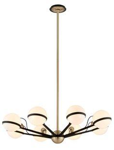 Troy Lighting F5304 Ace 8 Light Chandelier Textured Bronze and Brushed Brass Indoor Lighting Chandeliers