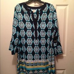 Crown & Ivy blue medallion print shift dress NWT blue and yellow print shift dress. Bell sleeves. Hits right above or at the knee. Crown & Ivy Dresses
