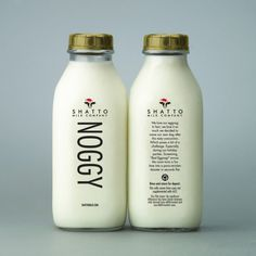 shatto milk presents noggy (egg nog) complete with a gold cap!