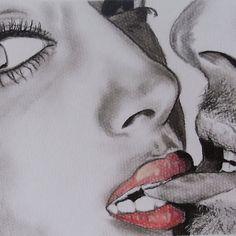 'Playful Kiss - Charcoal Bedroom Art' by Julie Hollis Cute Couple Drawings, Cute Couple Art, Art Amour, Romantic Drawing, Playful Kiss, Kiss Art, Romance Art, Bedroom Art, Erotic Art