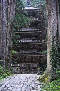 The five story pagoda, Mt Haguro, Yamagata, Japan