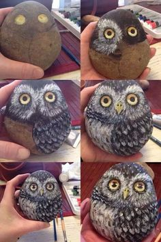 Stone painted with an owl art