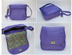 PURPLE FLAP. EXTERIOR: Made of purple Cowhide Leather. Antique brass rectangle turn lock. Metal-nished zippers. Rectangular metal rings. External zipper pocket. Antique brass metal studs. INTERIOR: Printed lining. One Pocket for cell phone or glasses. One zipper pocket.