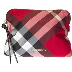 Red Pattern Tartan in Nylon and Leather Cosmetic Bag ($145) ❤ liked on Polyvore featuring beauty products, beauty accessories, bags & cases, red, travel bag, makeup bag case, burberry makeup bag, toiletry kits and make up purse