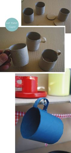 cardboard tea cups, pots, pans in a cardboard kitchen. Play Kitchens, Diy Play Kitchen, Toy Kitchen, Cardboard Kitchen, Cardboard Play, Cardboard Crafts, Projects For Kids, Diy For Kids, Crafts For Kids