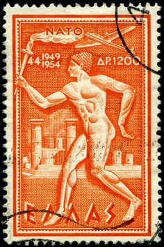 Sello: North Atlantic Treaty Organization - Torch bearer (Grecia) (N. French India, French West Africa, Old Stamps, Vintage Stamps, Ghibli, Ex Yougoslavie, Postage Stamp Art, Stamp Catalogue, Greek Art