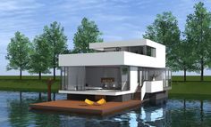 Amazing Boat House You Will Love. What do you think about living on a river or a lake, for example by using a floating house. One thing you think about is a lot of mosquitoes and slums. Floating Hotel, Floating Boat, Floating Cities, House Yacht, Boat House, Boat Garage, Houseboat Living, Crazy Houses, Bali