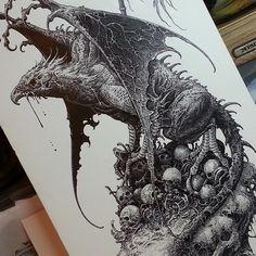 Art by Brandon Holt Creepy Sketches, Badass Drawings, Dark Art Drawings, Amazing Drawings, Art Sketches, Grimes Artwork, Ink Illustrations, Illustration Art, Dragon Artwork
