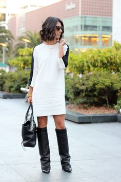 loving this shift dress & boots combo. need. it. now. via This Time Tomorrow