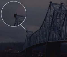 Fabled Mothman. Photo taken days before a beam of this bridge in West Virginia collapsed.