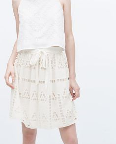 ZARA - NEW THIS WEEK - CUT WORK SKIRT WITH BOW