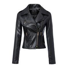 Notched Lapel Long Sleeve PU Zipper Biker Jacket ($55) ❤ liked on Polyvore featuring outerwear, jackets, beautifulhalo, bhalo, shirts, zipper jacket, biker style jacket, pu jacket, moto zip jacket and pu biker jacket