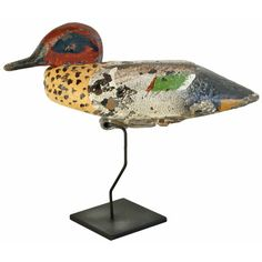 c. 1930's Pacific Coast Teal Duck Decoy American c. 1930's Wonderfully decorated male Teal Duck. Hand carved and painted by Jack Smith, of Sacramento, CA, who regularly used the decoy when duck hunting in Colusa County, CA.
