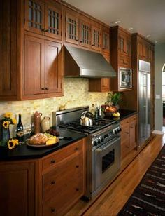 craftsman style kitchen cabinets & soapstone counter-tops ~ design