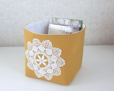 small storage bin mustard yellow with vintage doily by Tuuni, €26.00
