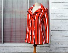 Mod Jacket Cardigan Red White and Blue Stripes by Meanglean, $35.00