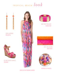 A brightly colored beach wedding guest look featuring inspiration by Panacea Floral design.