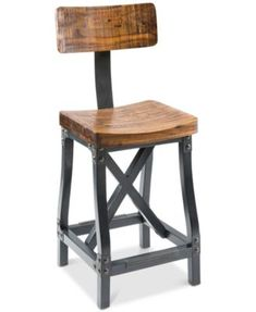 Lancaster Bar stool, Direct Ship $439.00 Rich acacia wood, a dark graphite finish frame and exposed metal give this handsome bar stool a rugged, industrial look while being warm and welcoming.
