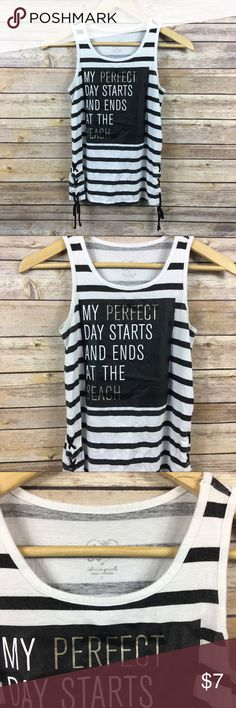 Justice My Perfect Day B&W Striped Tank 10 Justice My Perfect Day Black & White Striped Tank  Size 10  60% Cotton 40% Modal Thanks for visiting! Justice Shirts & Tops Tank Tops