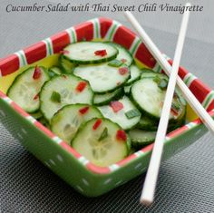 Cucumber Salad with Thai Sweet Chili Vinaigrette - cool, spicy, and sweet.