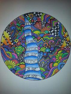 Zendala, Mandala, Art Quote, Sharpie, Derwent Inktense
