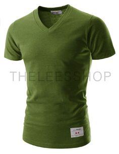 9bf332ed6fc56 (TVS01-WOODBINE) Unisex Slim Fit Casual Tee V-neck Short Sleeve Solid