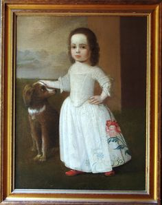 """Justus Engelhardt Kuhn (active 1708-1717) - Oil on canvas portrait of a young girl. JEK was a German immigrant who settled and worked in Annapolis, MD. Patronized by powerful families - Carrolls, Diggeses, and Darnalls - this young girl was likely from one of those families, perhaps one of the Carroll children. The Maryland Historical Society owns two identified Kuhn pieces of Darnell children. The sight size of this example is 39"""" x 29""""; 45"""" x 35 1/2"""" with frame. Frame is later, circa 1800."""