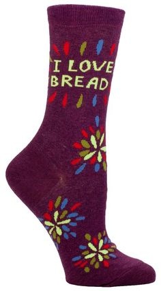 Blue Q Women's Novelty Crew Socks - I Love Bread (Womens Size 5-10) with Sock Ring