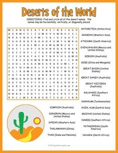 Deserts of the World Word Search:Learn the names and locations of 21 major world deserts with this super fun word search worksheet activity.