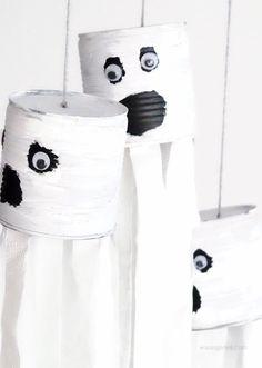 DIY Halloween Deko   Basteln mit Kindern   Gespenster aus Dosen und Toilettenpapier   Herbst 2016   waseigenes.com Blog