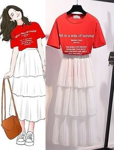 Korean Girl Fashion, Korean Fashion Trends, Korean Street Fashion, Ulzzang Fashion, Korea Fashion, Japanese Fashion, Cute Fashion, Fashion Drawing Dresses, Fashion Illustration Dresses