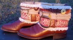 CINNAMON GIRL - Upcycled - Repurposed Vintage Boho All Leather Justin Cowboy Boots / Womens Size 5 1/2. $159.00, via Etsy.