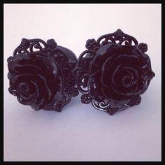 Black on Black Pinup Black Rose Plugs Custom Girly Plugs by Lovekillsboutique on Etsy https://www.etsy.com/listing/169827015/black-on-black-pinup-black-rose-plugs