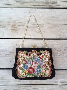 Vintage 1940's 1950's Embroidered Floral Brocade Tapestry Satin Gold Chain Kiss Clasp Black Evening Handbag Purse Clutch Needle Point Satin  Vintage 1940's 1950's Embroidered Floral Brocade by HexHeartHollow, $38.00