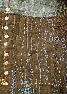 art work on the Boro / junko oki Art Fibres Textiles, Textile Fiber Art, Textile Artists, Embroidery Art, Embroidery Stitches, Impression Textile, Boro Stitching, Art Du Fil, Japanese Textiles
