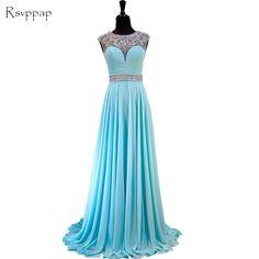 Stunning Light Blue Long Evening Dress 2017 Beaded Crystals Sheer Back  African Women Chiffon New Arrival Formal Gowns fdc43e99c547
