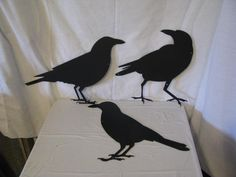 Raven Ground Crow Collection Metal Wall Yard Art Silhouette Set of 3. $60.00, via Etsy.