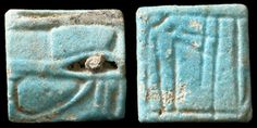 Late Period Egypt, 664-535 BC. Very interesting faience Eye of Horus plaque / amulet. Front with nice detail, raised black faience elements, back depicting a standing figure facing left, arm outstretched. 19 mm. Holed through for suspension. ex-Dr. Geoffrey Smith coll.; ex-Bonham's, London
