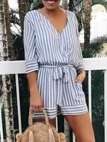 chicme / Striped V cuello atada cintura Wrap Playsuit Womens Fashion Online, S Models, Amazing Women, Jumpsuit, Rompers, Lingerie, V Neck, Fashion Outfits, Fashion Clothes